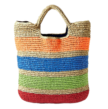Load image into Gallery viewer, Cancan - Basket weave, straw carry basket bag with stripes
