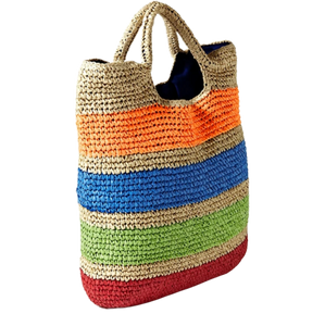 Cancan - Basket weave, straw carry basket bag with stripes