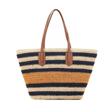 Load image into Gallery viewer, Marseille - French rattan, stripe basket, beach bag