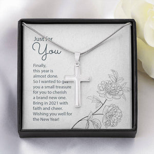 Happy White gold cross pendant and chain