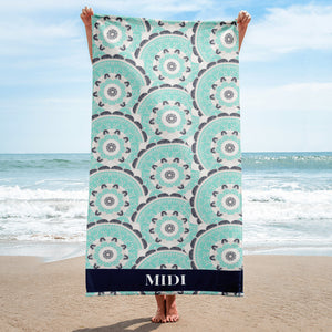 MIDI in Turquoise, patterned Designer towel