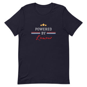 Powered by L'amour, French Slogan, short sleeved t-shirt from A home in France