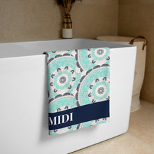 Load image into Gallery viewer, MIDI in Turquoise, patterned Designer towel