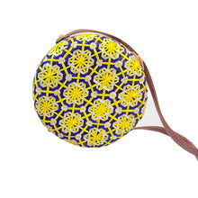 Load image into Gallery viewer, MAROC is a round straw and rattan, coloured crossbody bag