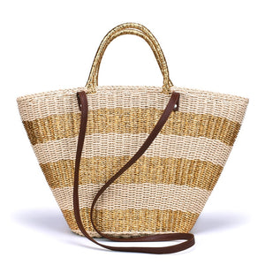 CANNES - Summer gold handmade, straw tote bag