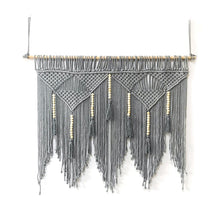 Load image into Gallery viewer, GRIS REVE - Grey macrame wall hanging