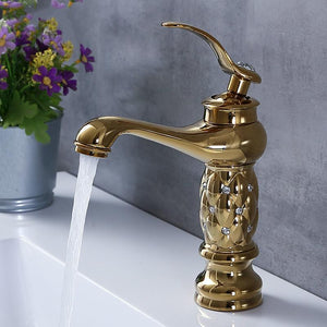 Polished Copper bathroom diamond detailed mixer tap