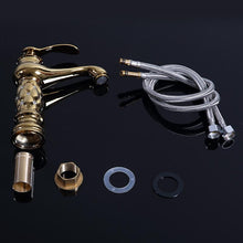 Load image into Gallery viewer, Polished Copper bathroom diamond detailed mixer tap