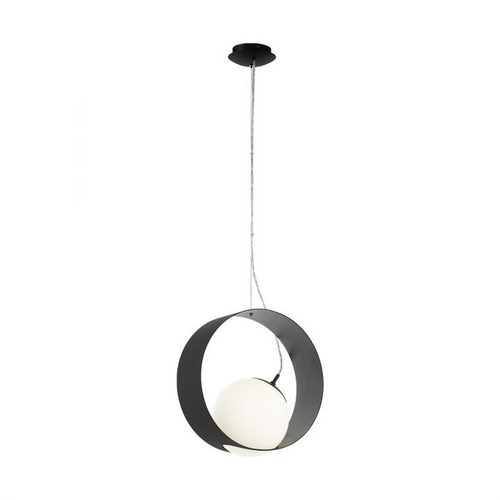 CAMARGO Single Pendant E27 BLACK & OPAL MATT White