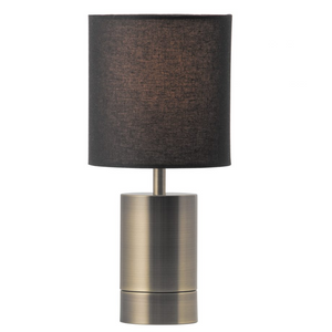 Mercer Brass Base Table Lamp - Black Shade - E27