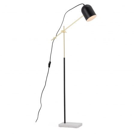 Blair Black and Gold Adjustable Floor Lamp with Marble Base - E27