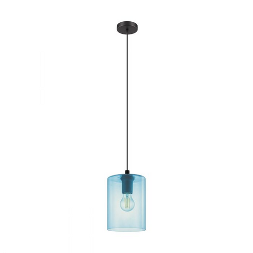 CADAQUES 1 Single Pendant E27 BLACK & PETROL BLUE