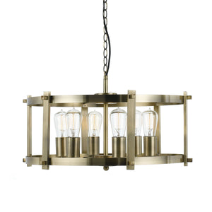 Finley 60 6Lt Pendant Antique Brass