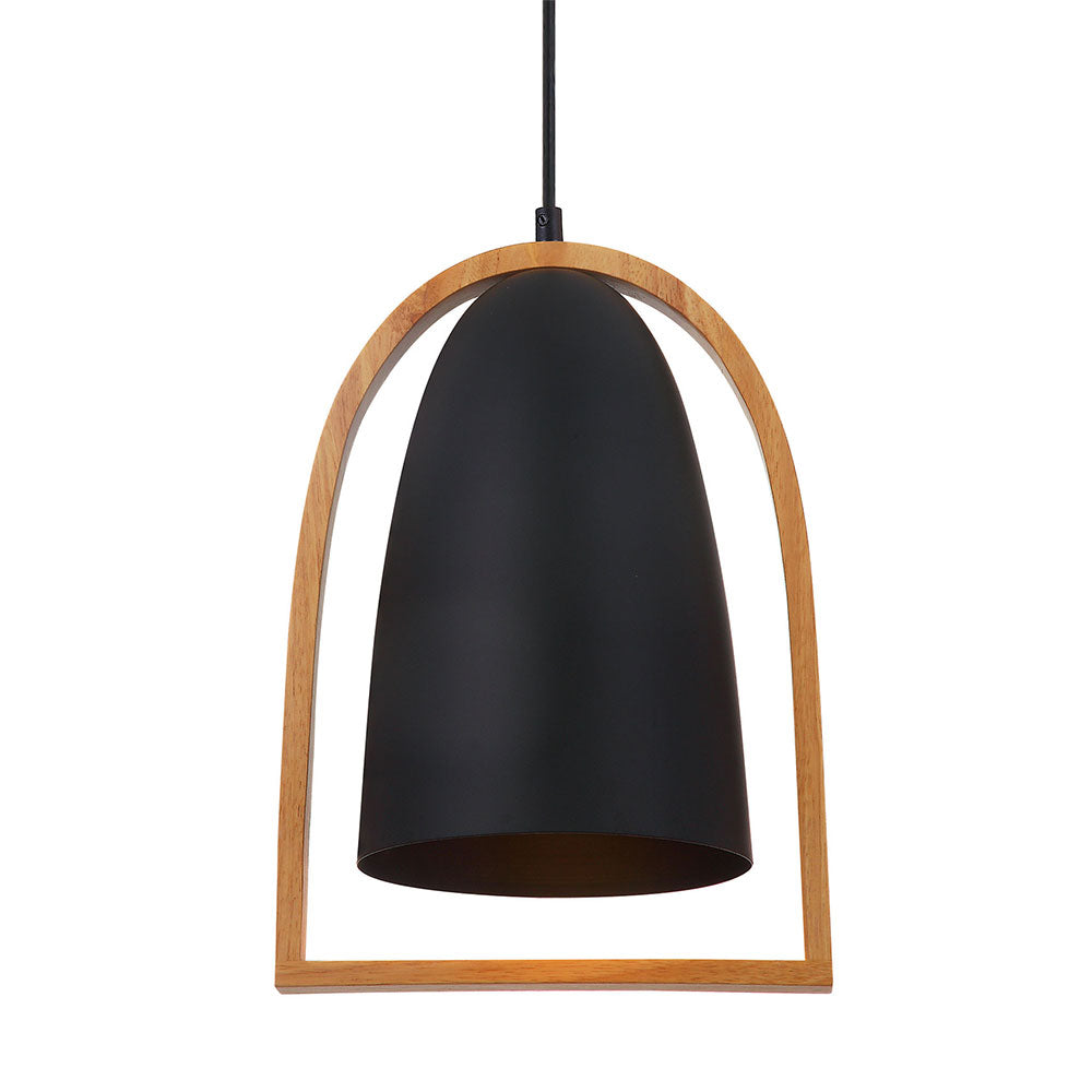 Swing6 Pendant Ellipse Black and Timber