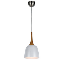 Load image into Gallery viewer, Polk Small Pendant Timber and White Metal