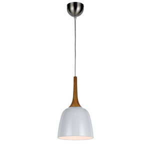 Polk Small Pendant Timber and White Metal
