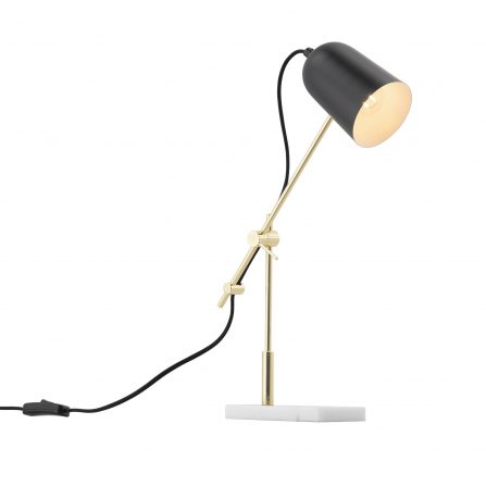 Blair Black and Gold Adjustable Task Table Lamp with Marble Base - E14