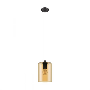 CADAQUES 1 Pendant Single E27 BLACK & AMBER