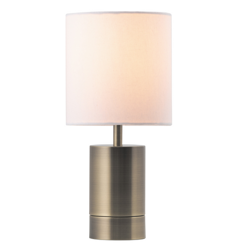 Mercer Brass Base Table Lamp - White Shade - E27