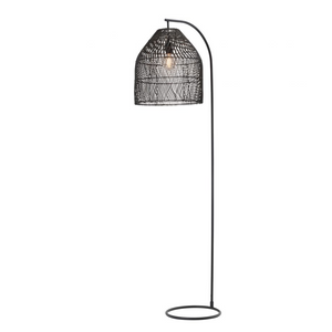 Sawyer Rattan Floor Lamp - Black - E27