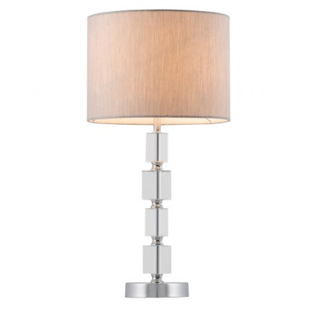 Ester Chrome Table Lamp with Glass Accents and Grey Silk Shade - E27