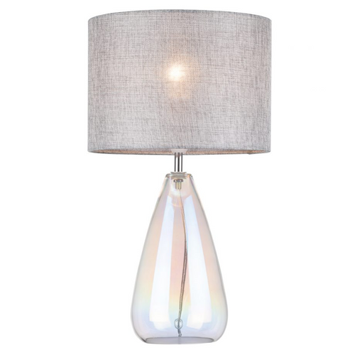 Devon Iridescent Glass Table Lamp with Silver Linen Shade - B22