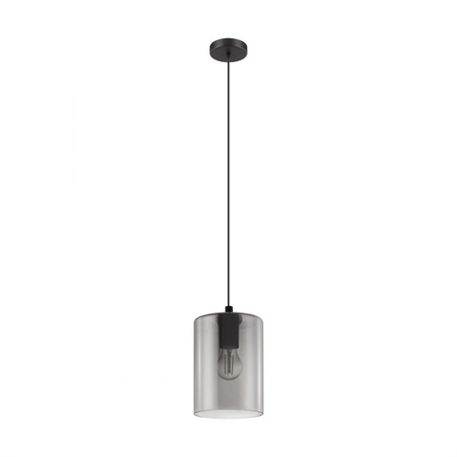CADAQUES 1 Single Pendant E27 BLACK & SMOKED GLASS