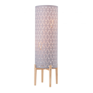 Billie Grey Fabric Cut-Out Floor Lamp with Wood Base
