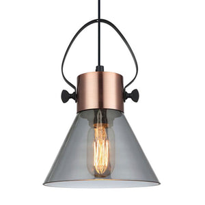 Fumoso 1 Copper/Smoke Glass Pendant Med