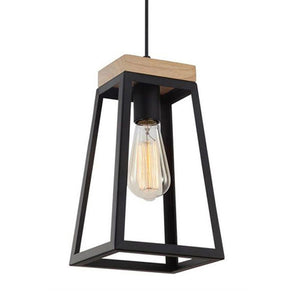 Lanterna1 Black Iron/Wood Pendant