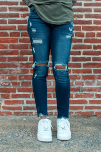 Distressed Mid-Rise Super Skinny Kan Can Jeans