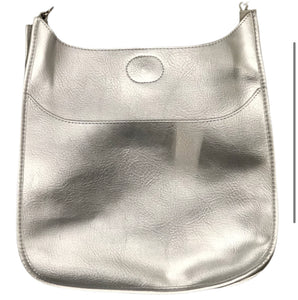 Ah-Dorned Classic Size Vegan Leather Messenger - Silver with Silver Hardware
