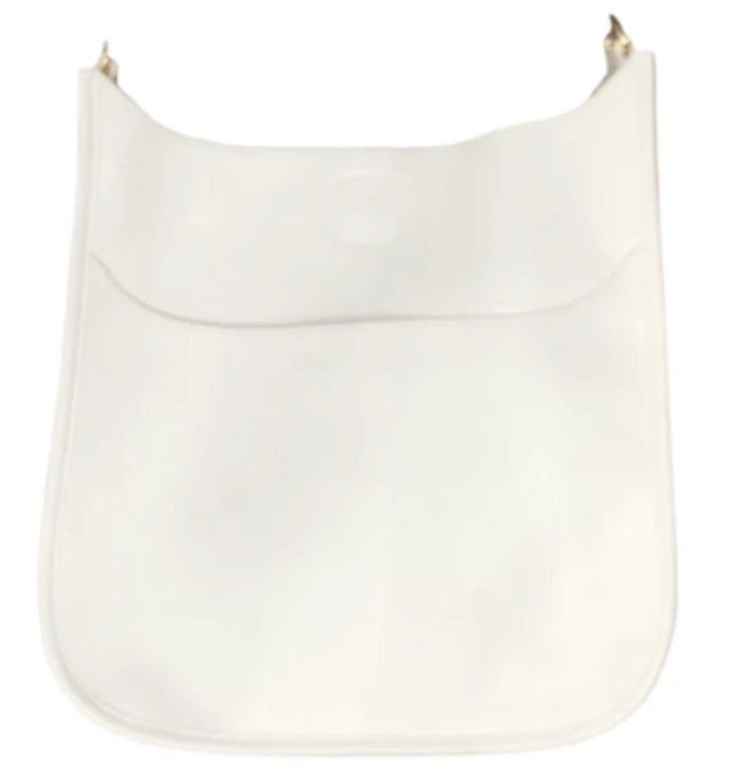 Ah-Dorned Classic Size Vegan Leather Messenger - White with Gold Hardware