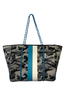 Ah Dorned Stripe Neoprene Tote-Grey Camo with a Blue and White