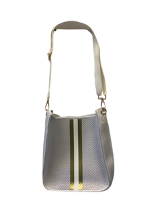 Ah Dorned Stripe Neoprene Messenger with Solid Strap- White and Gold