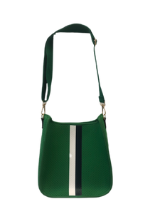 Ah Dorned Stripe Neoprene Messenger with Solid Strap-Green with White and Navy