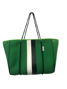 Ah Dorned Stripe Neoprene Tote-Green with White and Navy