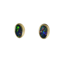 Australian Boulder Doublet Opal 925 Sterling Silver/Gold Plated Earrings - Electric Red/Gold/Green/Blue