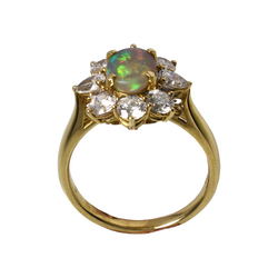 Australian Black Crystal Opal & Diamond 18kt Yellow Gold Engagement Ring