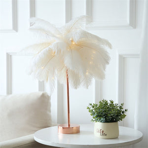 Fluffy Feather Table Lamp