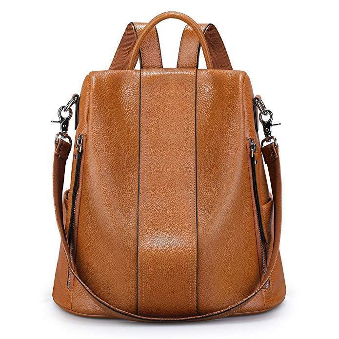 Soft Leather Backpack for Women Antitheft Ladies Waterproof Fashion Travel Rucksack