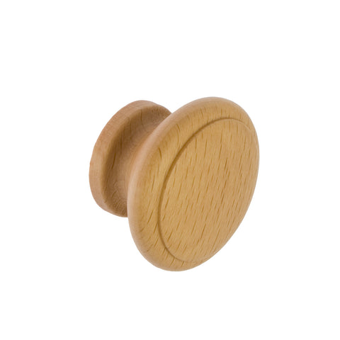 Beech Ridged Cupboard Door Knob 42mm