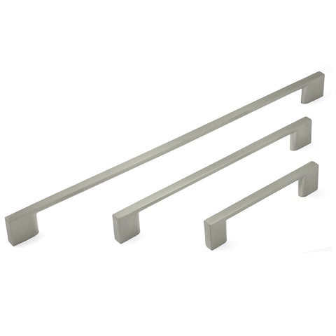 Slim Square Bar Handles Brushed Nickel