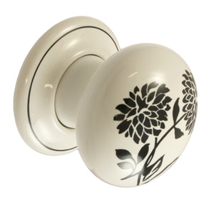 Pair of Black Dahlia Ceramic Mortice Door Knobs