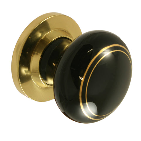 Pair of Black / Gold Brass Ceramic Mortice Door Knobs