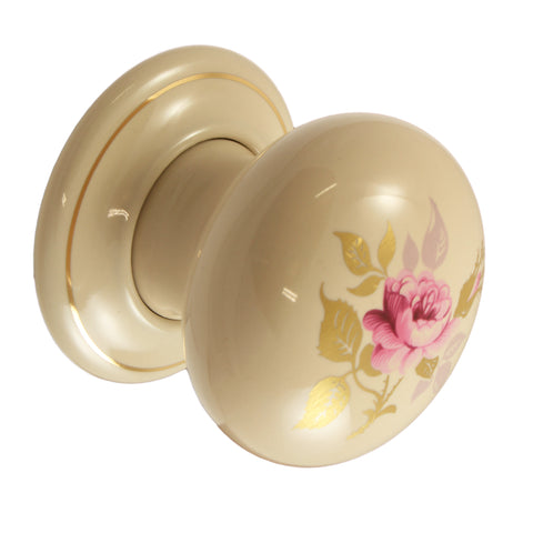 Pair of Mortice Door Knobs Chintz Rose