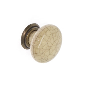 Cream Crackle Ceramic / Antique Brass Knob