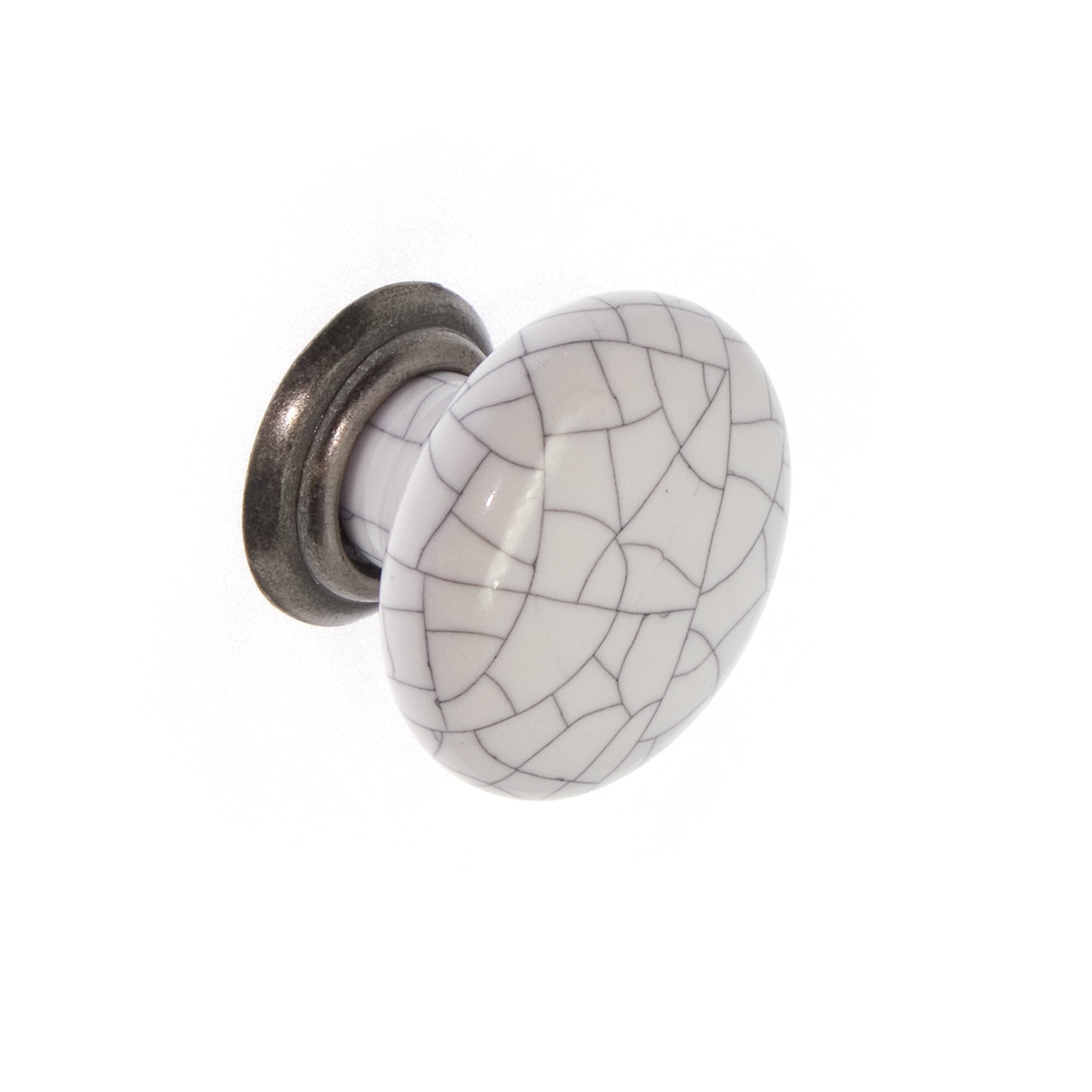 White Crackle Ceramic / Antique Pewter Knob