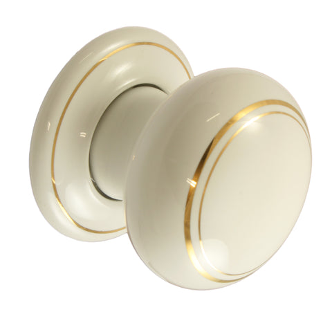 Pair of White / Gold Coachlines Ceramic Mortice Door Knobs