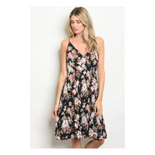 Load image into Gallery viewer, Midi Black Floral Dress